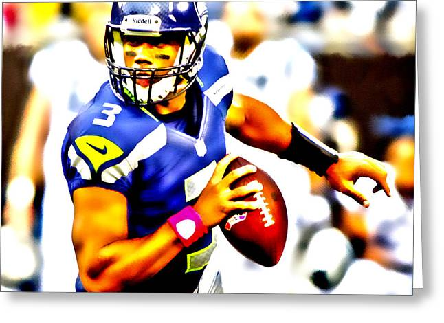 Carrington Greeting Cards - Russell Wilson in the Pocket Greeting Card by Brian Reaves