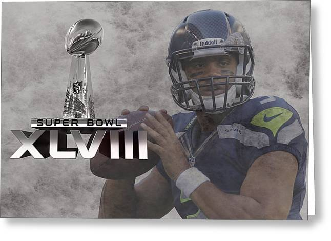 Seattle Greeting Cards Greeting Cards - Russell Wilson Greeting Card by Joe Hamilton