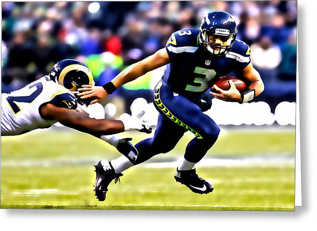 Carrington Greeting Cards - Russell Wilson on the Move Greeting Card by Brian Reaves