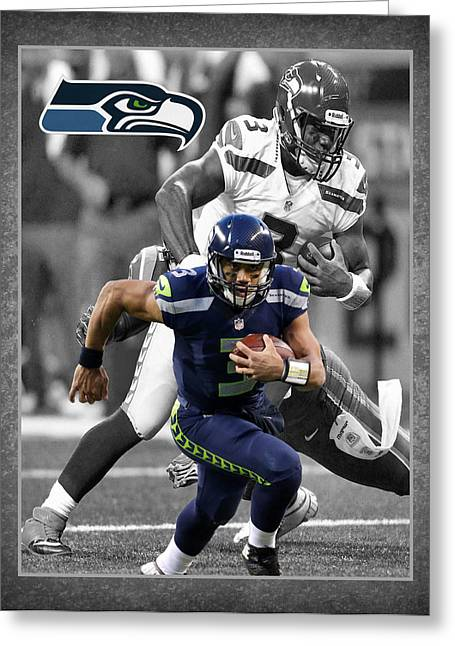 Shoes Greeting Cards - Russell Wilson Seahawks Greeting Card by Joe Hamilton