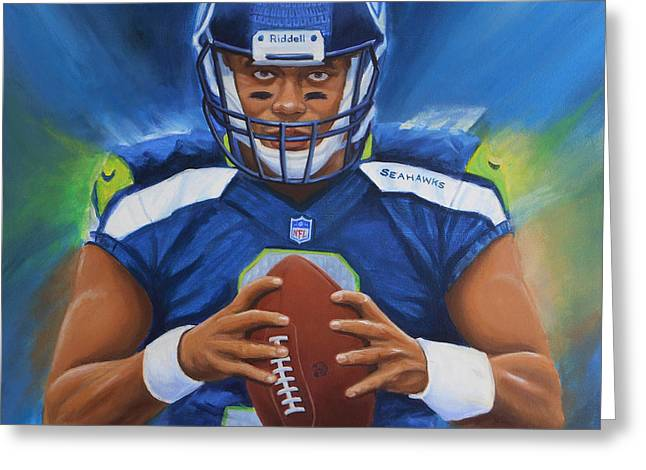 Espn Paintings Greeting Cards - Russell Wilson Seattle Seahawks Greeting Card by Angie Villegas