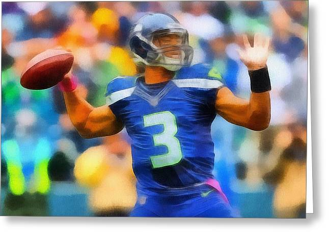 Offense Mixed Media Greeting Cards - Russell Wilson Seattle Seahawks Greeting Card by Dan Sproul