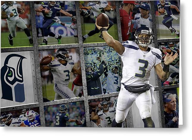 Wilson Greeting Cards - Russell Wilson Seattle Seahawks Greeting Card by Joe Hamilton