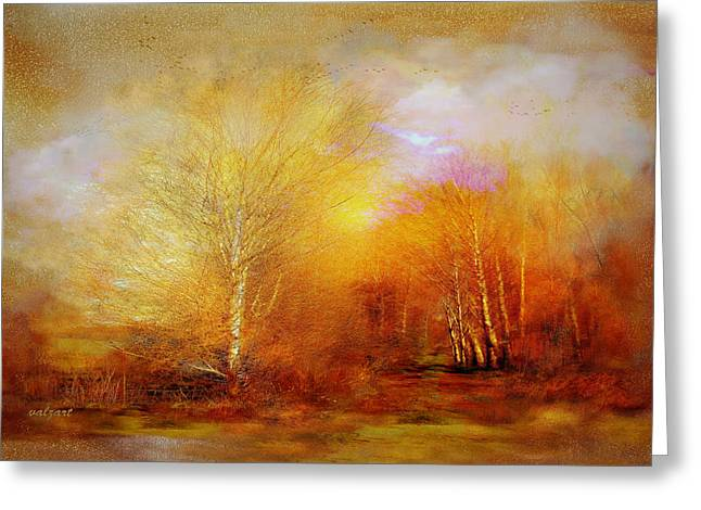Kelly Mixed Media Greeting Cards - Russet lane Greeting Card by Valerie Anne Kelly