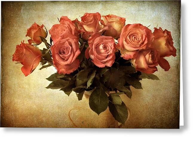Red Leaves Digital Greeting Cards - Russet Rose Greeting Card by Jessica Jenney