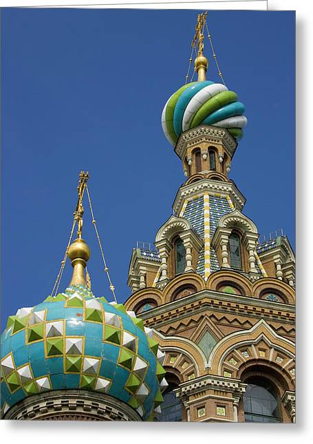 Russia, St Petersburg Two Towers Greeting Card by Jaynes Gallery
