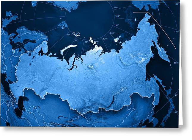 Ramspott Greeting Cards - Russia Topographic Map Greeting Card by Frank Ramspott