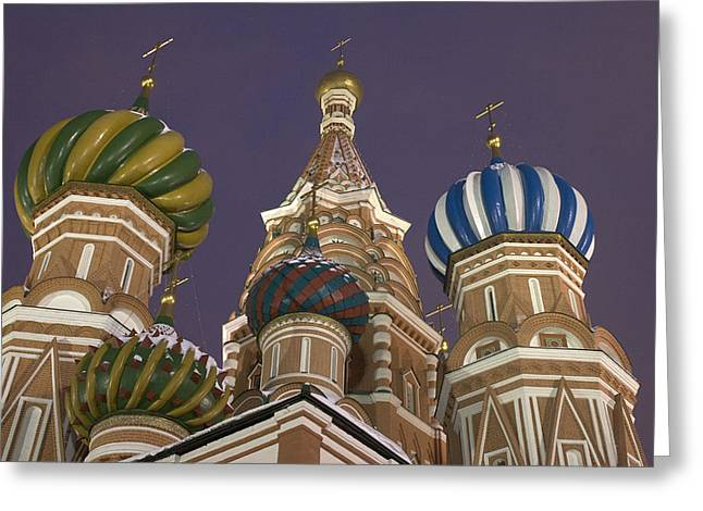 Snowy Evening Greeting Cards - Russia,moscow Red Square,st.basil Greeting Card by Tips Images