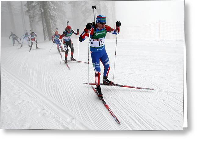 Russian Cross Greeting Cards - Russian Biathlon Cup Greeting Card by Science Photo Library