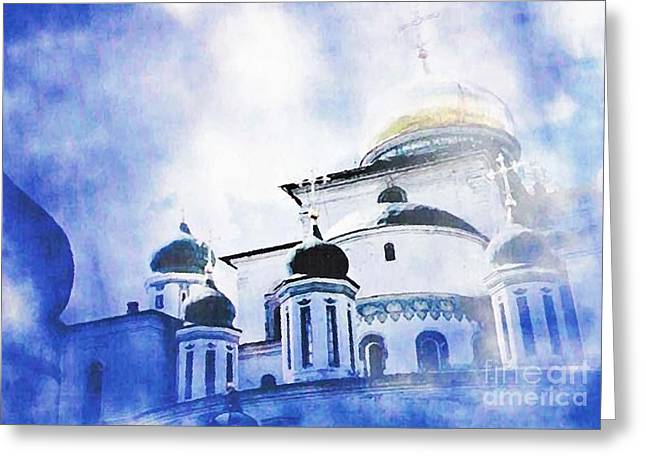 Russian Church In A Blue Cloud Greeting Card by Sarah Loft