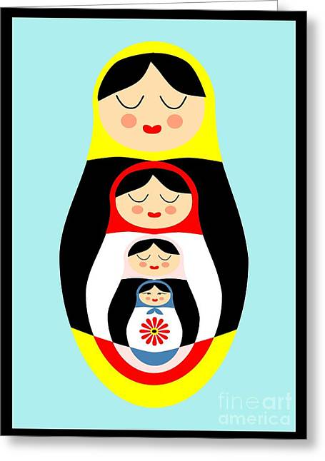 Catherine White Drawings Greeting Cards - Russian doll matryoshka Greeting Card by Patruschka Hetterschij