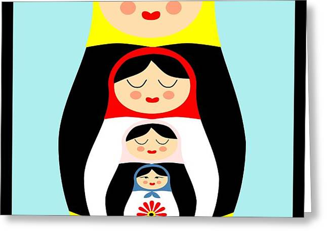 Russian doll matryoshka Greeting Card by Patruschka Hetterschij