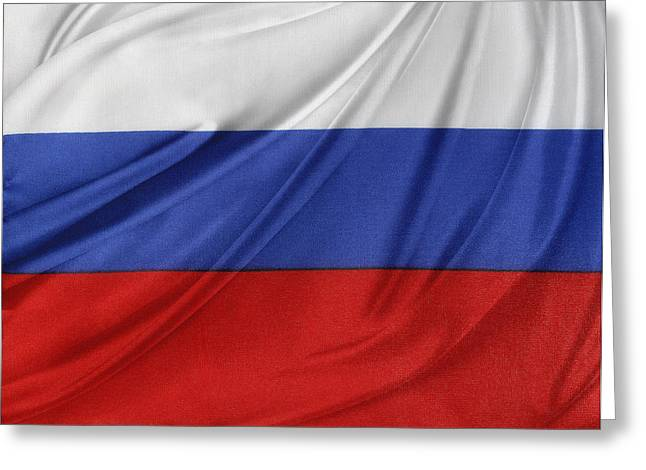 Waving Flag Greeting Cards - Russian flag Greeting Card by Les Cunliffe