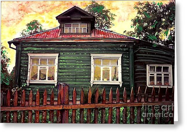 Europe Mixed Media Greeting Cards - Russian House 2 Greeting Card by Sarah Loft