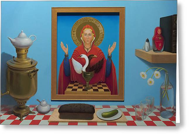 Russian Icon Paintings Greeting Cards - Russian Iconic welcome - Warmness of cold Greeting Card by Boris Giulian