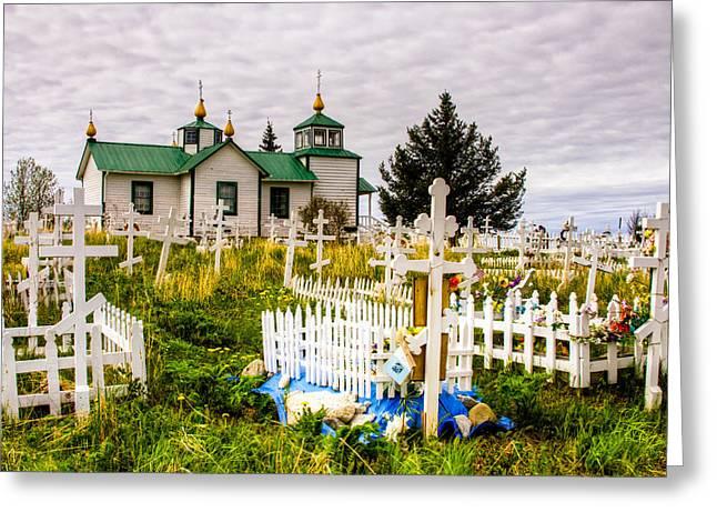 Russian Cross Greeting Cards - Russian Orthodox Church in Ninilchik Alaska Greeting Card by Natasha Bishop