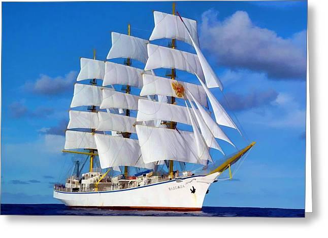 Schooner Mixed Media Greeting Cards - Russian Sailing Ship Greeting Card by Garland Johnson