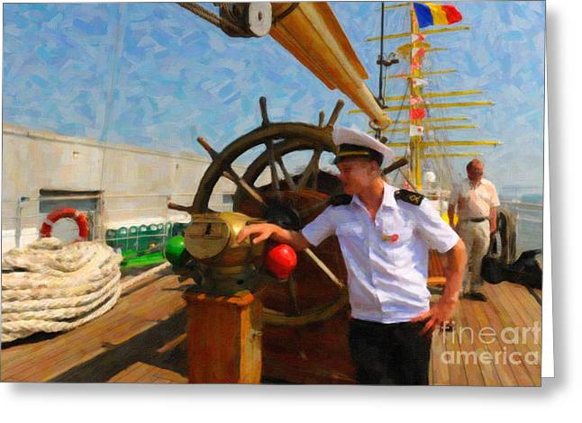 Tall Ships Mixed Media Greeting Cards - Russian Sailor Greeting Card by Dale Powell