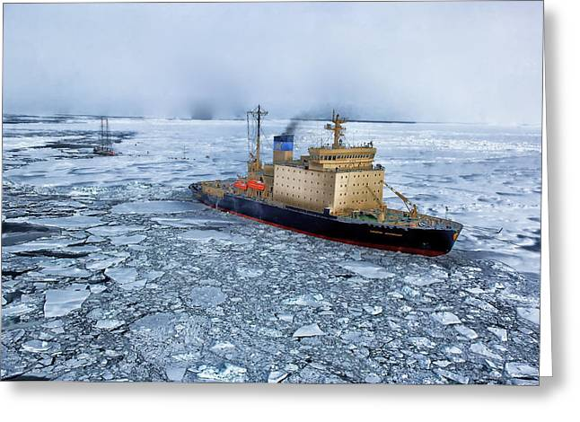 Dangerous In Winter Greeting Cards - Russian Ship Iced In - Antarctica Greeting Card by Mountain Dreams