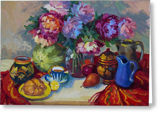 Watermelon Greeting Cards - Russian Still Life Greeting Card by Diane McClary