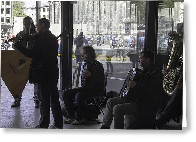 Live Performance Greeting Cards - Russian Street Musicians Greeting Card by Teresa Mucha