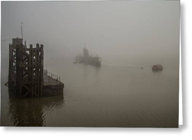 River Medway Greeting Cards - Russian Sub in Fog Greeting Card by Dawn OConnor