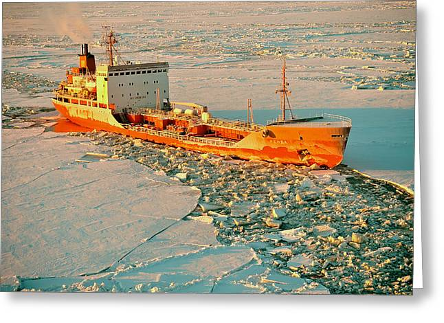 Nome Greeting Cards - Russian Tanker Surrounded by Alaskan Ice Greeting Card by Mountain Dreams