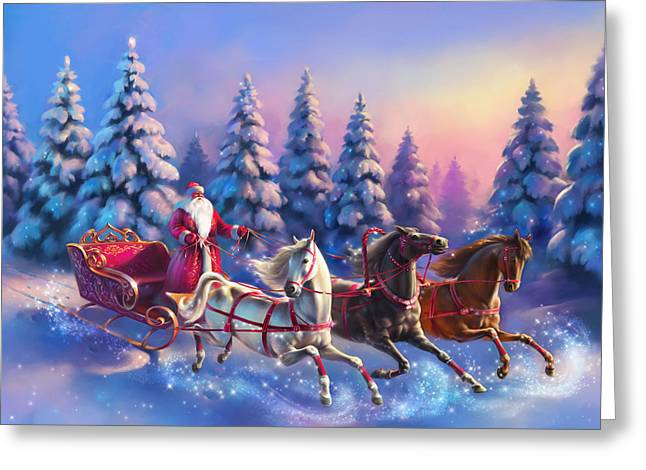 New Year Greeting Cards - Russian three-horse Greeting Card by Eldar Zakirov