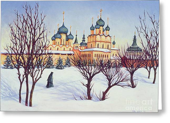 Orthodox Greeting Cards - Russian Winter Greeting Card by Tilly Willis