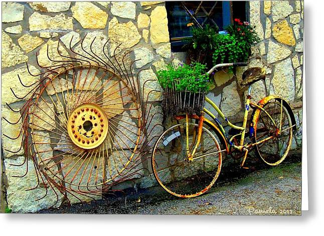 Farm Stand Greeting Cards - RUST and FLOWERS Greeting Card by ARTography by Pamela  Smale Williams