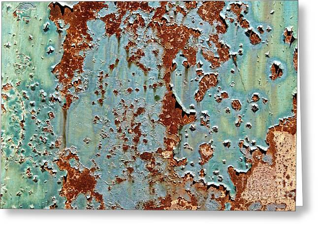 Industrial Background Greeting Cards - Rust and Paint Greeting Card by Olivier Le Queinec