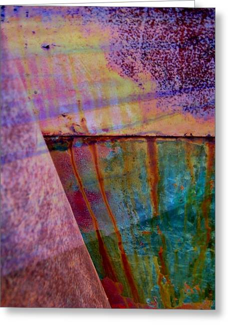Dark Blue Greeting Cards - Rust and Paint Greeting Card by Shirley Sirois