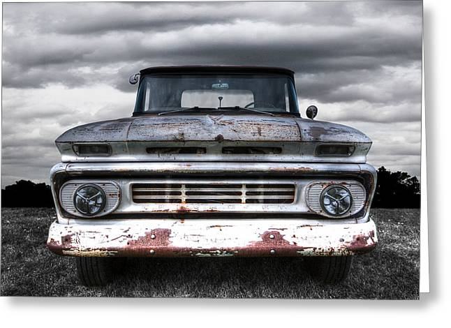 Old Pickup Greeting Cards - Rust And Proud - 62 Chevy Fleetside Greeting Card by Gill Billington