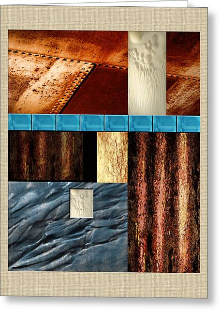 Rivets Paintings Greeting Cards - Rust and Rocks Rectangles Greeting Card by Elaine Plesser