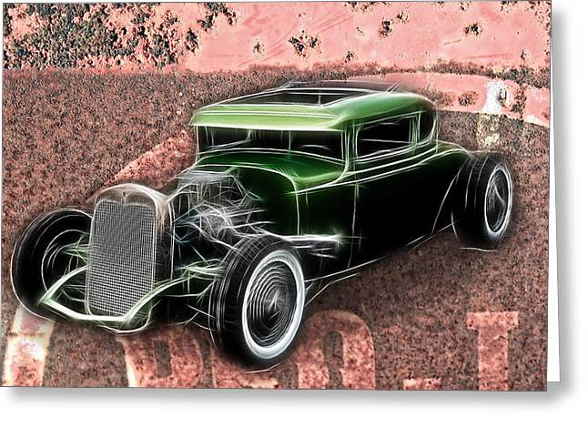 Graffitti Coupe Greeting Cards - Rust and Rods Greeting Card by Steve McKinzie