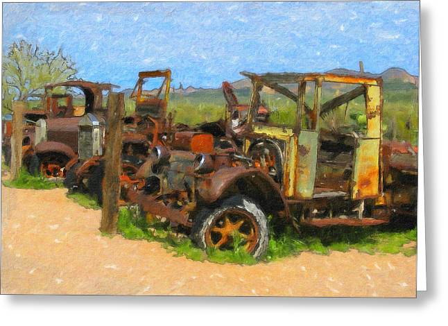 Ford Model T Car Paintings Greeting Cards - Rust and Trucks in Field Greeting Card by John Farr