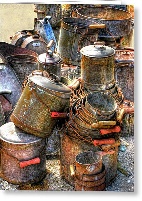 Wire Handle Greeting Cards - Rust Buckets Greeting Card by Douglas J Fisher