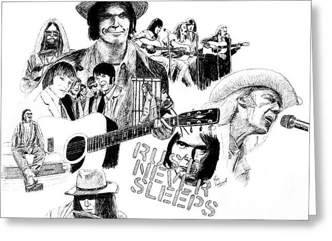 Neil Young Drawings Greeting Cards - Rust Never Sleeps Greeting Card by Ron Enderland