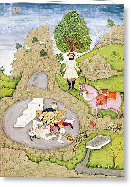 Evil Greeting Cards - Rustam Killing The White Demon, From The Shahnama Book Of Kings, By Abul-qasim Manur Firdawsi Greeting Card by Indian School