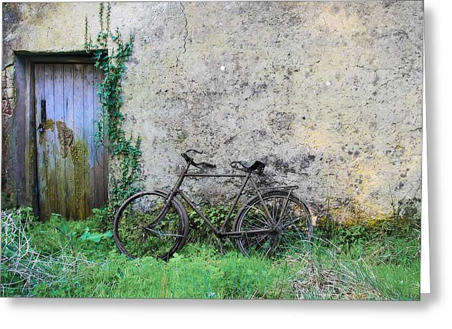 Sligo Greeting Cards - Rusted  Bike by the Door Greeting Card by Bill Cannon