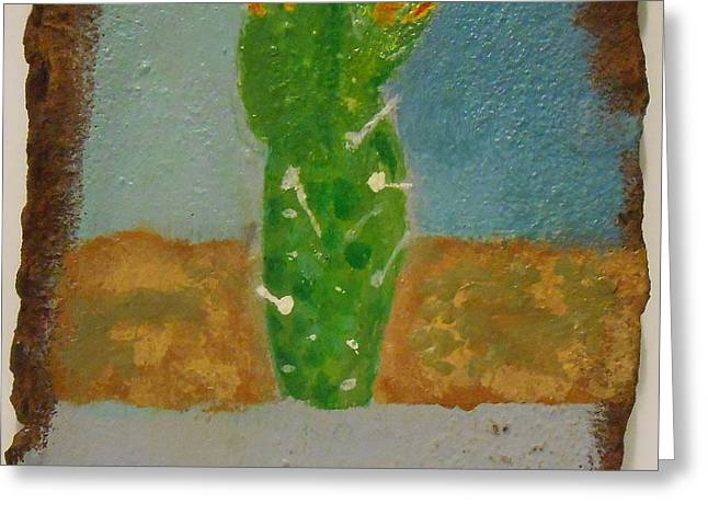 Rust Sculptures Greeting Cards - Rusted Cactus Greeting Card by Josh Jeffers