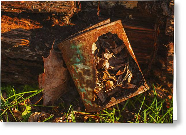 Cattle-shed Greeting Cards - Rusted Can Of Leaves Greeting Card by Jack Zulli