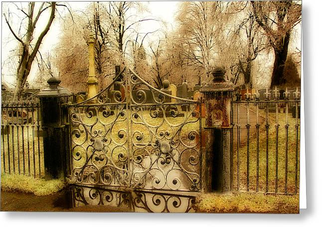 Rusted Cemetery Gate Greeting Card by Gothicolors Donna Snyder
