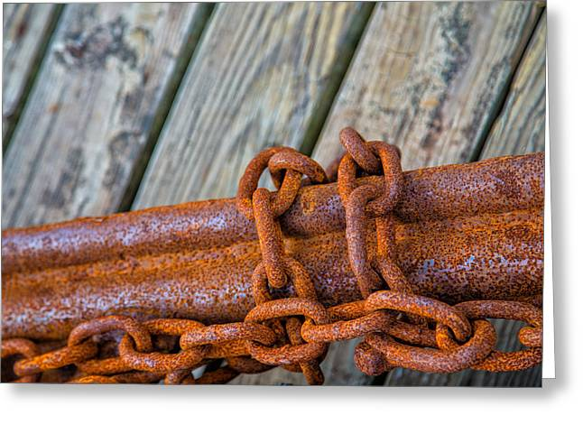 Rusted Chained Greeting Card by Karol Livote