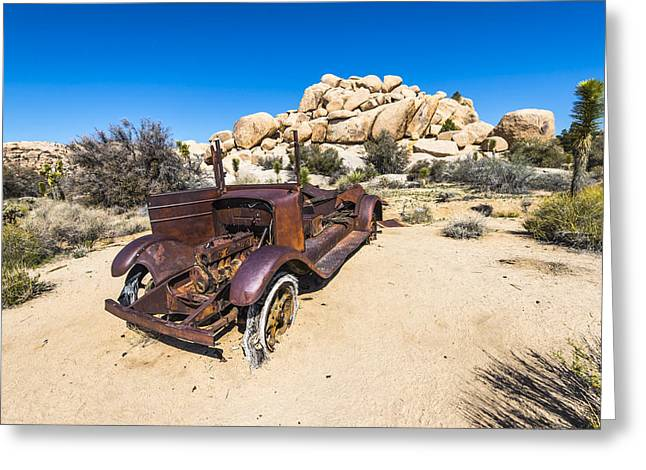 Rusted Cars Photographs Greeting Cards - Rusted Desert Car Greeting Card by Joseph S Giacalone