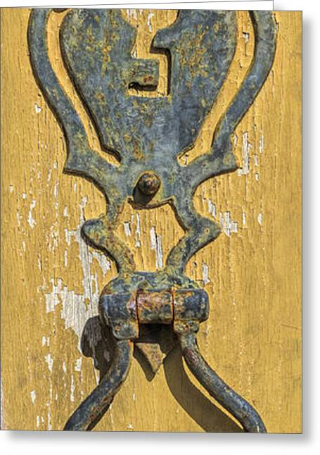 Paint Photograph Greeting Cards - Rusted Door Lock Greeting Card by David Letts
