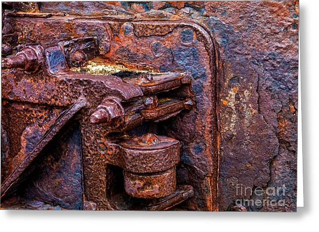 Industrial Background Mixed Media Greeting Cards - rusted Equipment Greeting Card by M and L Creations
