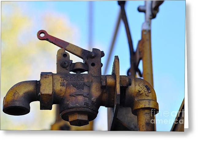 Flagg Greeting Cards - Rusted Flagg Valve Greeting Card by Liane Wright
