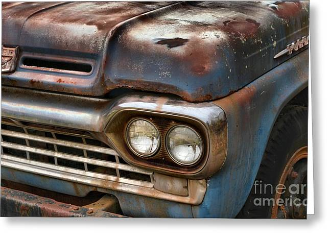Blue Truck Greeting Cards - Rusted Ford F-600 Greeting Card by Adam Jewell