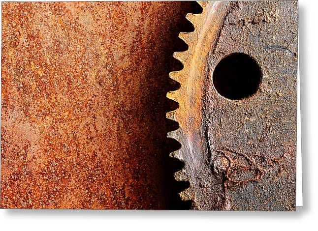 Cog Greeting Cards - Rusted Gear Greeting Card by Jim Hughes